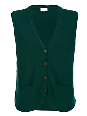 Knitted gilet made from a soft wool blend