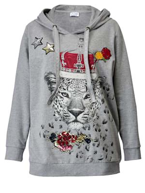 Sweat-shirt à motif imprimé léopard devant et dos
