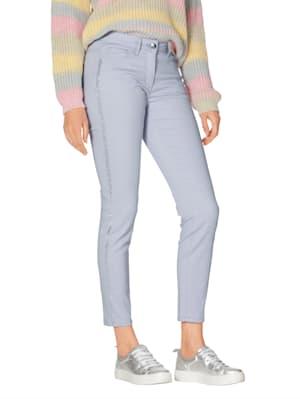 Jeans mit Galonstreifen aus Strasssteinen
