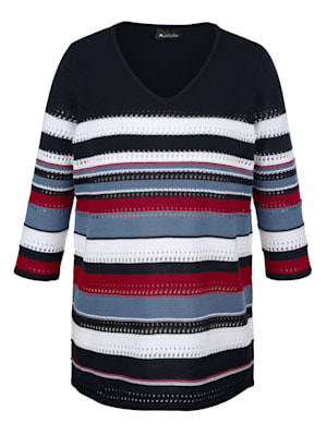 Pullover im sportivem Streifen-Strickmuster