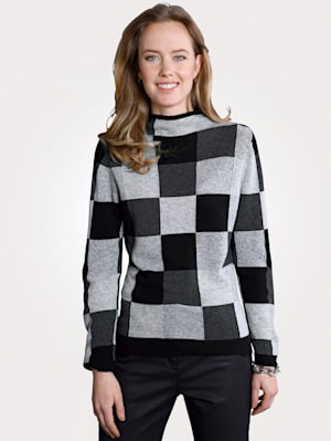 Cashmere jumper with a check pattern