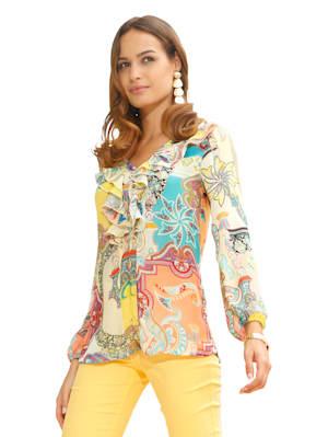 Bluse mit farbenfrohen Paisleydruck und Rüschen am Ausschnitt