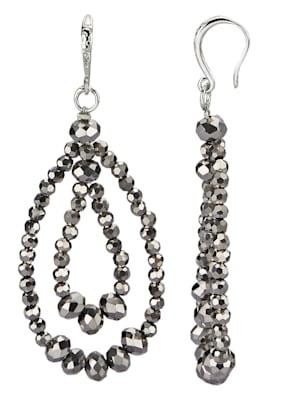 Örhängen med grå glaspärlor