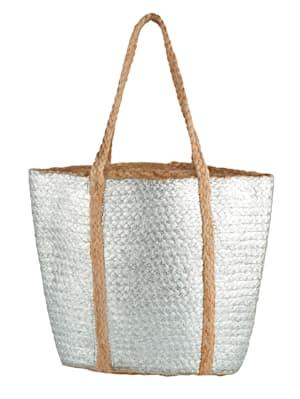 Korbtasche mit silberfarbenen Beschichtung