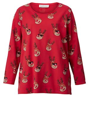 Sweat-shirt à motifs de rennes