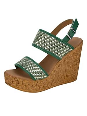 Sandales compensées avec bande tressée