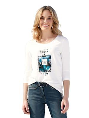 T-shirt à motif et strass fantaisie devant