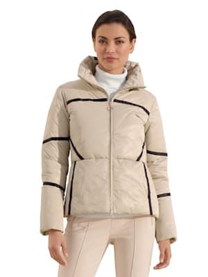 Gewatteerde jas met contrastkleurige streep
