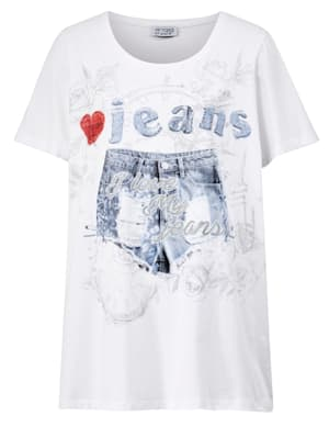 T-shirt à imprimé 'short en jean'