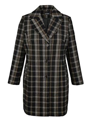 Manteau court en laine mélangée à motif à carreaux devant et dos