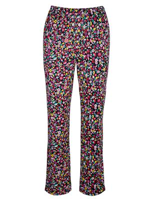 Jersey broek met bloemenprint rondom