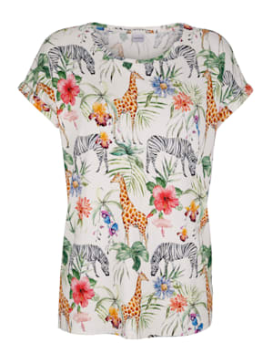 T-shirt à imprimé jungle et animaux tendance