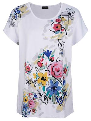 T-shirt à imprimé floral placé devant