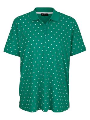 Poloshirt met contrastkleurig stippendessin rondom