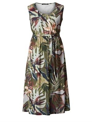 Maxi-jurk met bladerendessin