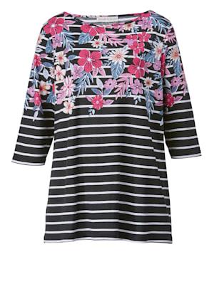 Shirt met strepen en bloemenprint
