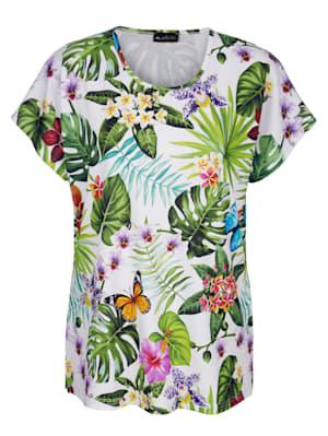 Shirt met kleurrijke jungleprint rondom