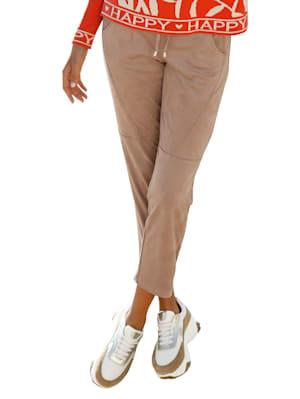 Pantalon en similicuir à taille élastiquée et lien sous tunnel