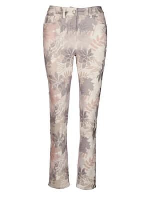 Trousers with a pastel leaf print