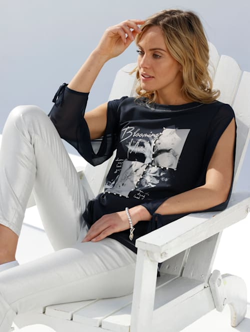 Shirt met mouwen van chiffon
