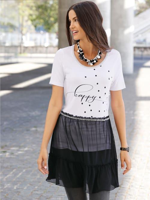 T-shirt long avec empiècement en mesh à la base