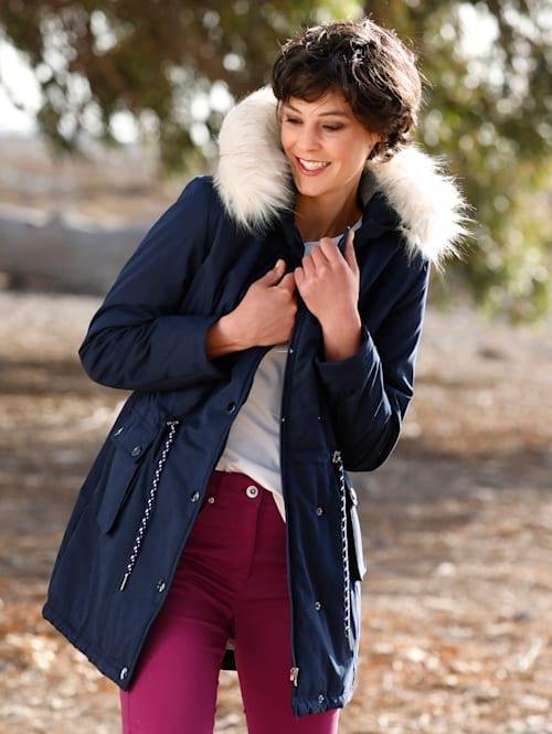 Kožušinový kabát s odnímateľnou kožušinou