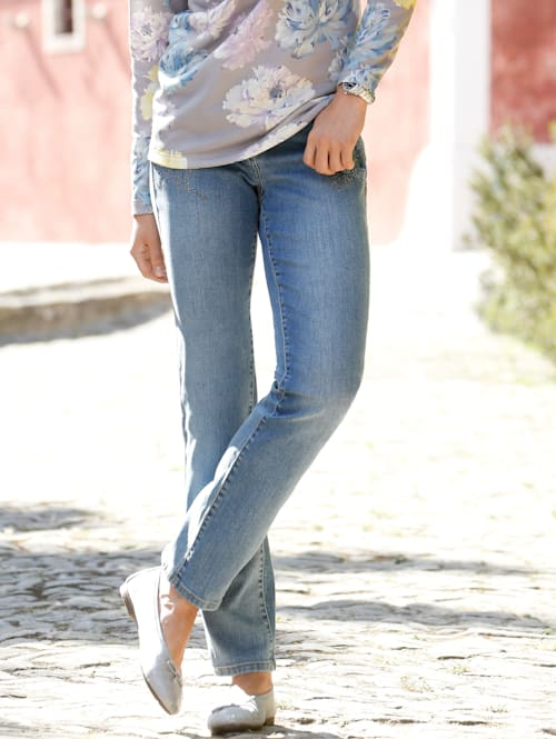 Jeans met gebloemde siersteentjes
