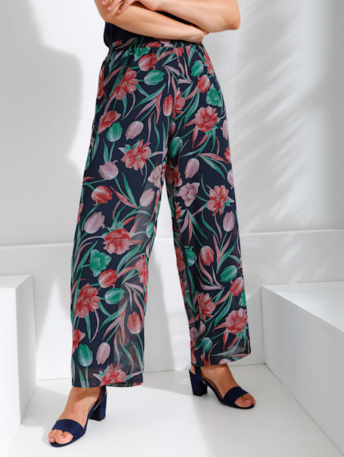 Kalhoty s jemným květinovým potiskem