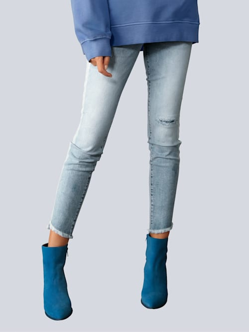 Jeans mit Galonstreifen in gebleichter Optik