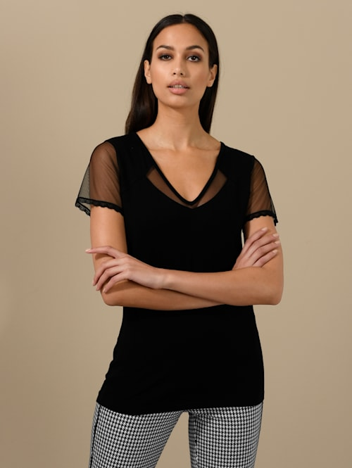 Shirt met transparante meshinzet
