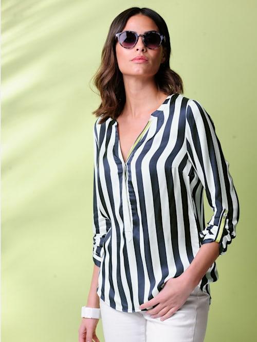 Bluse allover im kontrastfarbigem Streifen-Dessin