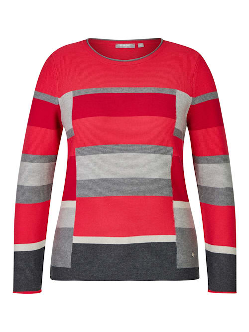 Pullover mit gestreiftem Allover-Muster und Rollsäumen