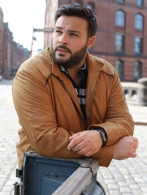 Kožená bunda s károvanou podšívkou