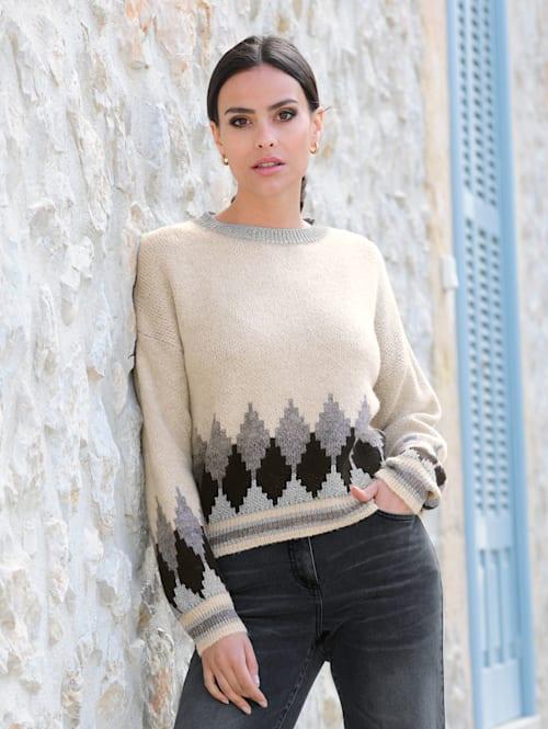 Pullover in schönem Jacquard Muster-Mix