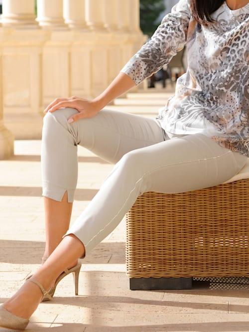 Kalhoty s módním lemováním v jemném lesku