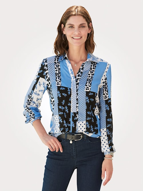 Blouse in a mixed print