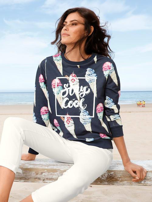 Sweatshirt med morsomt kremmerhus-trykk