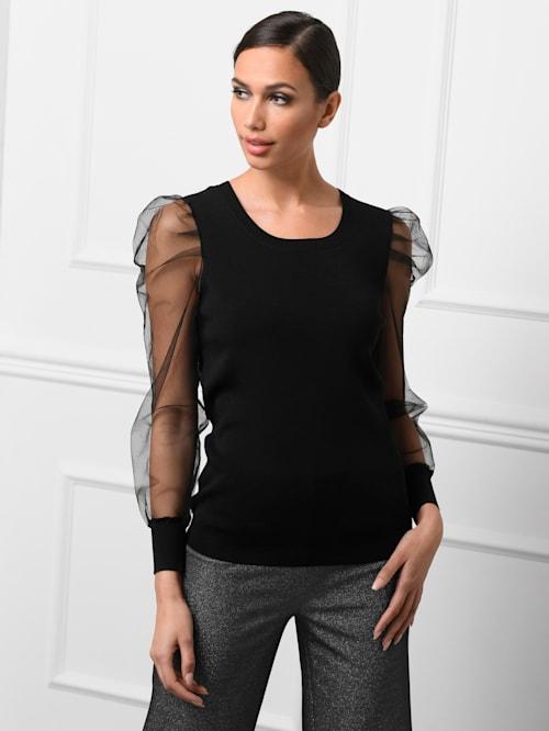 Pullover mit transparenten Tüll-Ärmeln