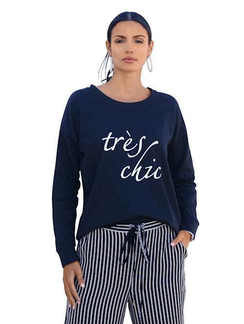 Sweatshirt med text framtill