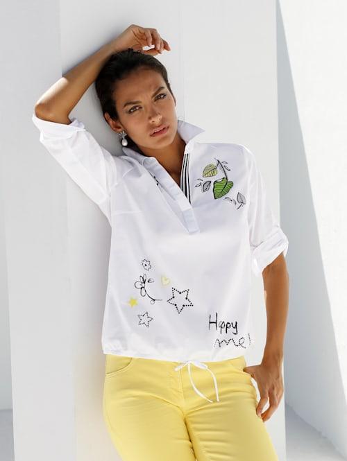 Bluse mit Blütendruck und Stickerei