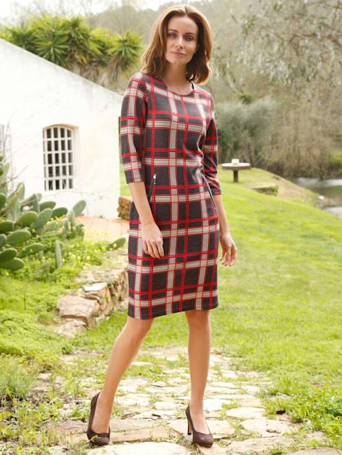 Jersey jurk met modieus ruitdessin