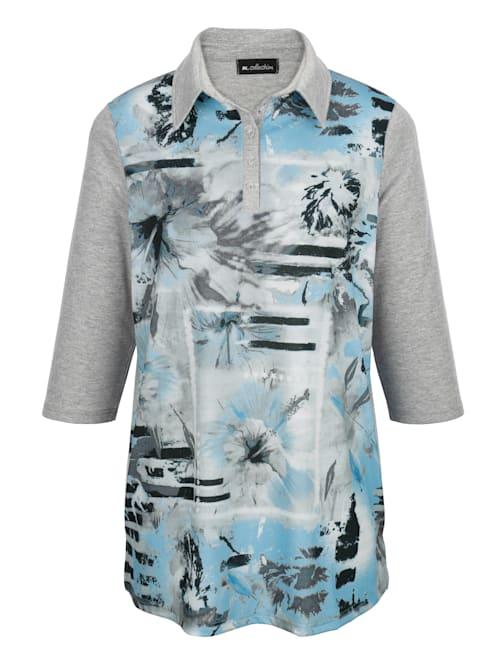 Poloshirt mit attraktivem Blumen-Druckmuster im Vorderteil