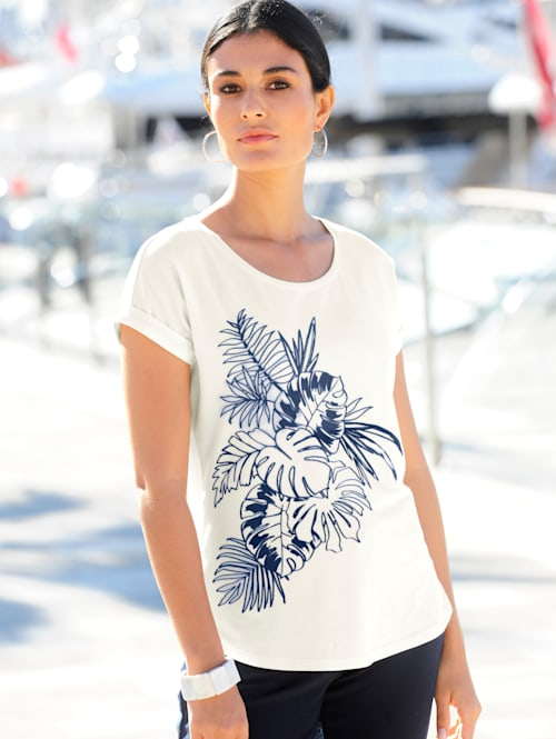 Shirt mit floralem Motiv aus Flock-Print