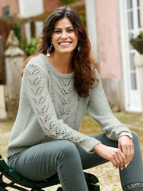 Pullover mit Lochstrick-Muster