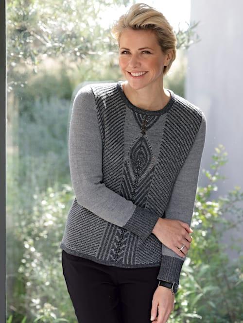 Pullover mit zweifarbigem Strukturstrick