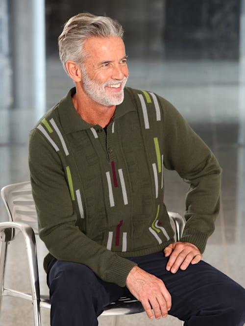 Pulovr s pleteným vzorem na přední části