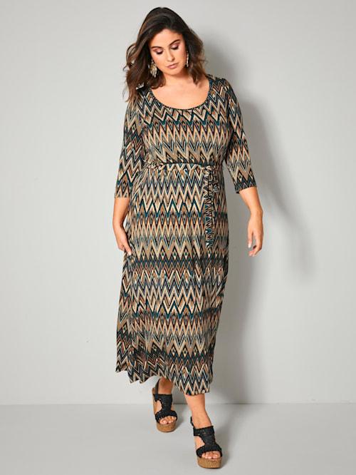 Maxi-jurk met dwarselastische taillenaad
