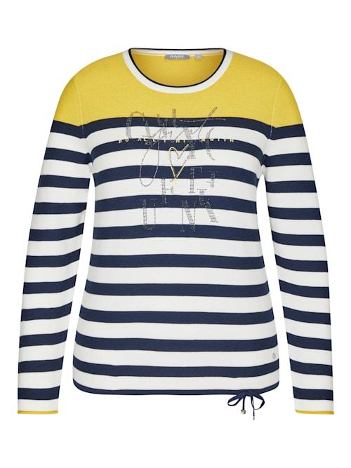 Pullover mit gestreiftem Muster und Strass-Steinen