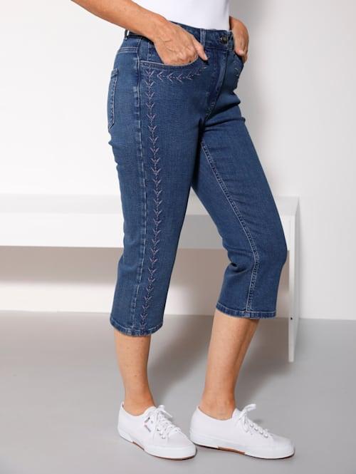 Capri-jeans met harmonieus gekleed borduursel