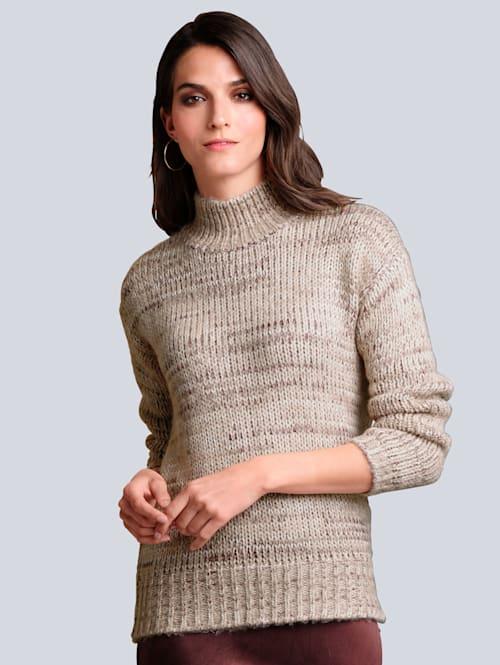 Pullover mit kontrastfarbigem Garn-Mix